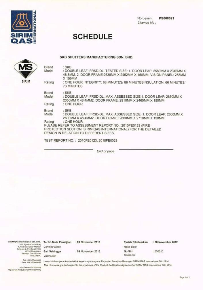 Fire Door Bomba & Sirim DL Certificates Extended To 09-11